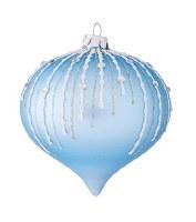 "3"" Blue Bead Onion Ornament Glass"
