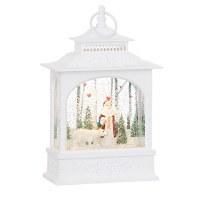 "11"" LED Santa With Polar Bear Glitter Lantern"