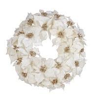 "21"" White and Gold Poinsettia Wreath"