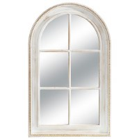 "47"" White Washed Bead Rim Arch Mirror"