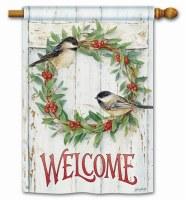 Chickadee Wreath Flag