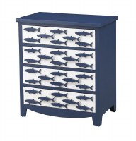 "26"" Blue and White Four Drawer Fish Chest"
