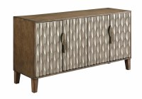 "58"" Silver and Brown Four Door Credenza"