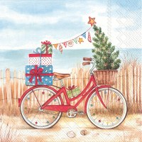 Christmas Bike Beach Beverage Napkin