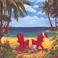 Two Red Adirondack Chairs Beverage Napkin