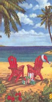 Two Red Adirondack Chairs Guest Towel