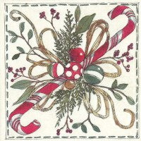 Candy Canes & Ornaments Beverage Napkin