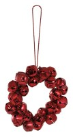Set of 4 Red Bell Wreath Ornaments