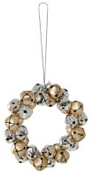 Set of 4 Gold and Silver Bell Wreath Ornaments
