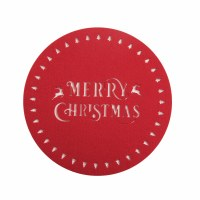 """14"""" Round Red Merry Christmas Placemat"""