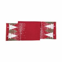 """72"""" Snowy Trees On Red Table Runner"""