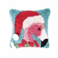 """8"""" Square Christmas Flamingo Pillow"""