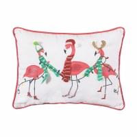 """12"""" x 16"""" Three Christmas Flamingos Pillow"""