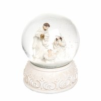 """4"""" Antique White Holy Family Water Globe"""