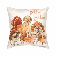 "18"" Square Turkey Dogs Pillow"