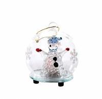 "2.7"" LED Glass Snowman Ball Ornament"