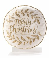 """18"""" Round Gold Merry Christmas Pillow"""
