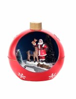 "4"" LED Deer With Santa Orb Ornament"