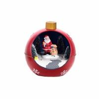 "4"" LED Santa With Sack Orb Ornament"