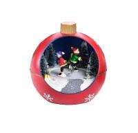 "4"" LED Ice Skaters Orb Ornament"