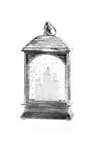 "6"" LED Silver Candle Glitter Lantern"