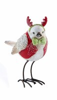 """5.5"""" White and Red Bird With Antlers"""