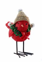"""4"""" Red Bird With Hat"""