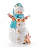 """8"""" White and Turquoise Sand Snowman"""