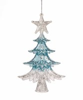 """6"""" Blue and White Tree Ornament"""