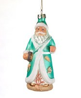 "6"" Turquoise Beach Santa Glass Ornament"
