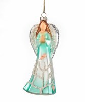 "5"" Turquoise Sea Angel Glass Ornament"