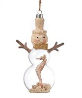 "6"" Sand Snowman With Seahorse Glass Ornament"