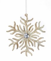 "5"" Antique White Coral Snowflake Ornament"