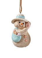"2.5"" Sand Snowman With Purse Ornament"