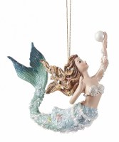 "4"" Blue Mermaid With Pearl Ornament"