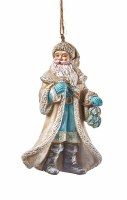 "3.5"" White Coastal Santa Ornament"