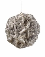 "4"" Silver Starfish Resin Ball Ornament"