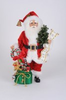 """17"""" LED Red Santa With Candy Cane"""