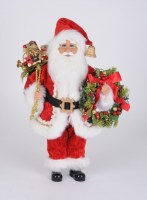 """17"""" LED Red Santa With Wreath"""