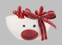 """5"""" White and Red Deer Bowl"""