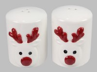 "2.5"" White and Red Deer Salt & Pepper Shakers"