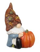 "4"" Fall Gnome In Blue Coat Resin"