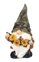 "6"" Green Fall Gnome with Flowers"