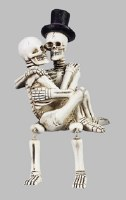 "5"" Skeleton Couple With Top Hat"