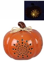 "5.5"" LED Orange Ceramic Pumpkin"