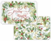 "11"" x 17"" Red and Green Merry and Bright Winter Greenery Reversible Placemat"