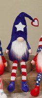 "26"" LED Blue Shoes On Red, White and Blue Gnome"