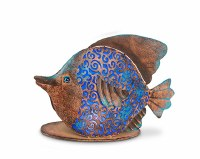 """11"""" Solar LED Blue and Copper Fish"""