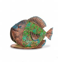 """11"""" Solar LED Green and Copper Fish"""