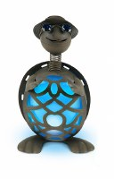 """14"""" Solar LED Blue and Rust Turtle"""